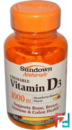 Chewable Vitamin D3, Strawberry-Banana Flavor, 1000 IU, Sundown Naturals, 120 Tablets