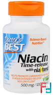 Niacin, Time-Released With Niaxtend, 500 mg, Doctor's Best, 120 Tablets