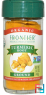 Organic, Turmeric Root, Ground, Frontier Natural Products, 1.41 oz (40 g)
