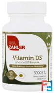 Vitamin D3, Advanced D3 Formula, Zahler, 3000 IU, 120 Softgels