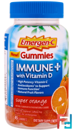 Immune Plus with Vitamin D Gummies, Super Orange, Emergen-C, 45 Gummies