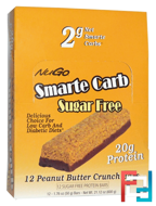 Smarte Carb Sugar Free, Peanut Butter Crunch Bars, NuGo Nutrition, 12 -1.76 oz (50 g) Bars