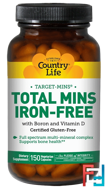 Total Mins Iron-Free, Country Life, 150 Veggie Caps