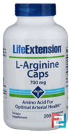 L-Arginine Caps, Life Extension, 700 mg, 200 Veggie Caps