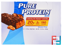 Chocolate Peanut Caramel Bars, Pure Protein, 6 Bars, 1.76 oz (50 g) Each