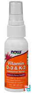 Vitamin D-3 & K-2, Liposomal Spray, D-3 1,000 IU / K-2 100 mcg, Now Foods, 2 fl oz, 59 ml
