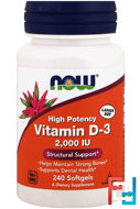 Vitamin D-3, Now Foods, 2000 IU, 240 Softgels