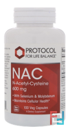 NAC N-Acetyl-Cysteine, Protocol for Life Balance, 600 mg, 100 Veg Capsules