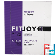 Protein Bar, Chocolate Iced Brownie, FITJOY, 12 Bars, 2.18 oz (62 g) Each