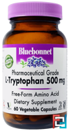 L-Tryptophan, Bluebonnet Nutrition, 500 mg, 60 Veggie Caps
