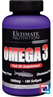 Omega 3, Ultimate Nutrition, 1000 mg, 180 softgels