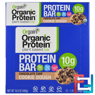 Organic Plant-Based Protein Bar, Chocolate Chip Cookie Dough, Orgain, 12 Bars, 1.41 oz (40 g) Each