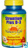 Strontium Plus D-3, Nature's Life, 60 Tablets