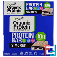 Organic Plant-Based Protein Bar, S'mores, Orgain, 12 Bars, 1.41 oz (40 g) Each