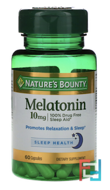 Melatonin, Nature's Bounty, 10 mg, 60 Capsules