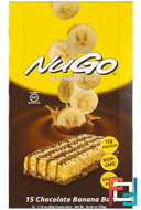 Nutrition To Go, Chocolate Banana Bars , NuGo Nutrition, 15, 1.76 oz (50 g) Each