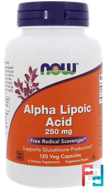 Alpha Lipoic Acid, Now Foods, 250 mg, 120 Veg Capsules