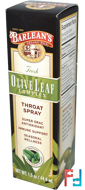 Fresh Olive Leaf Complex, Throat Spray, Soothing Peppermint Flavor, Barlean's, 1.5 oz, 44.4 ml