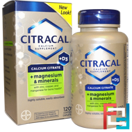 Calcium Citrate, + Magnesium & Minerals, +D3, Citracal, 120 Coated Caplets