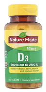 D3, Vitamin D Supplement, Nature Made, 2000 IU, 100 Tablets