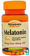 Melatonin, Sundown Naturals, 3 mg, 120 Tablets