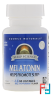 Melatonin, Peppermint Flavored Sublingual, Source Naturals, 2.5 mg, 60 Tablets