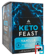 Keto Feast, Ketogenic Balanced Shake & Meal Replacement, Vanilla, 12 Single Serve Packets, Dr. Axe / Ancient Nutrition, 1.65 oz (47 g) Each