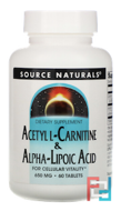 Acetyl L-Carnitine & Alpha Lipoic Acid, 650 mg, Source Naturals, 60 Tablets