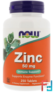 Zinc, Now Foods, 50 mg, 250 Tablets