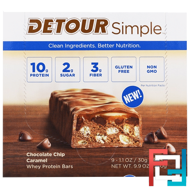 Whey Protein Bars, Chocolate Chip Caramel, Detour, Simple, 9 Bars, 1.1 oz (30 g) Each
