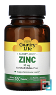 Zinc, Country Life, 50 mg, 180 Tablets