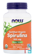 Certified Organic Spirulina, Now Foods, 500 mg, 200 Tablets