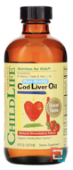 Cod Liver Oil, ChildLife, Natural Strawberry Flavor, 237 ml
