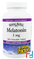 Stress-Relax, Melatonin, Natural Factors, 1 mg, 180 Chewable Tablets