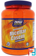 Micellar Casein, Instantized, Sports, Now Foods, Natural Unflavored, 1.8 lbs, 816 g