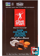 Nutrition Bars, Dark Chocolate Almond Coconut, Caveman Foods, 15 Bars, 1.4 oz (40 g) Each