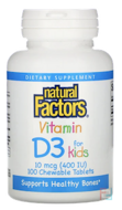 Vitamin D3, Strawberry Flavor, 400 IU, Natural Factors, 100 Chewable Tablets