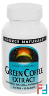 Green Coffee Extract, Source Naturals, 500 mg, 60 Tablets