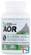 R-Lipoic Acid, R(+)-1,2-Dithiolane-3-Pentanoate, Advanced Orthomolecular Research AOR, 90 Veggie Caps