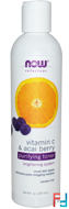 Purifying Toner, Vitamin C & Acai Berry, Solutions, Now Foods, 237 ml