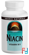 Niacin, 100 mg, Source Naturals, 250 Tablets