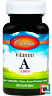Vitamin A, Carlson Labs, 25,000 IU, 100 softgels