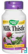 Milk Thistle, Standardized, Nature's Way, 60 Capsules