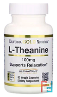 L-Theanine, AlphaWave, Supports Relaxation, Calm Focus, California Gold Nutrition, 100 mg, 60 Veggie Capsules