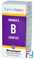 Women's B Complex, Superior Source, 60 MicroLingual Instant Dissolve Tablets