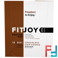 Protein Bar, Chocolate Chip Cookie Dough, FITJOY, 12 Bars, 2.18 oz (62 g) Each