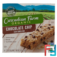 Organic Chewy Granola Bars, Chocolate Chip, Cascadian Farm, 6 Bars, 1.2 oz (35 g) Each