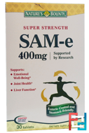 SAM-e (S-Adenosyl-L-Methionine), Super Strength, 400 mg, Nature's Bounty, 30 Tablets