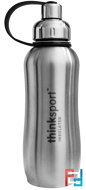 Thinksport, Insulated Sports Bottle, Silver, Think, 25 oz (750 ml)