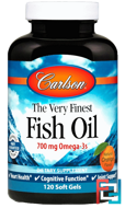 The Very Finest Fish Oil, Natural Orange, Carlson Labs, 1,000 mg, 120 Soft Gels